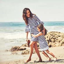 Family Look Mom and Daughter Dress Trumpet Sleeve Stripe Mini Dress Mother and Daughter Clothes Mother Daughter Dresses Clothes