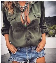 women blouse fashion 2020  female ladies clothing womens pockets sexy solid top shirt top 90s