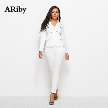 ARiby Women Fashion Casual Two Piece Set 2019 Autumn New Office Lady Long Sleeve V-Neck Top and Pants Black White