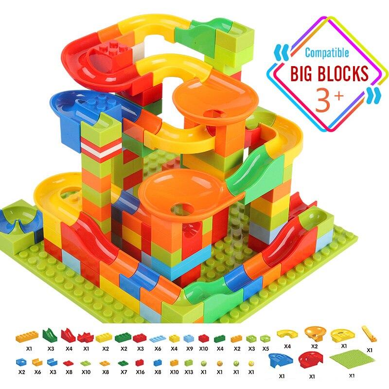 52-330 PCS Big Size Marble Race Run Building Block Compatible Duploed Blocks Funnel Slide Bricks Toys For Children