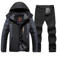 Plus Size Winter Ski Suit Men Waterproof Fleece Ski Jacket Pants Thicken Warm Outdoor Snow Skiing and Snowboarding Jacket Men