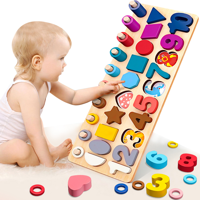 Children Eduactional Toy Multi-function Geometric Shape Cognition Match Baby Early Education Teaching Aids Math Toy For Children