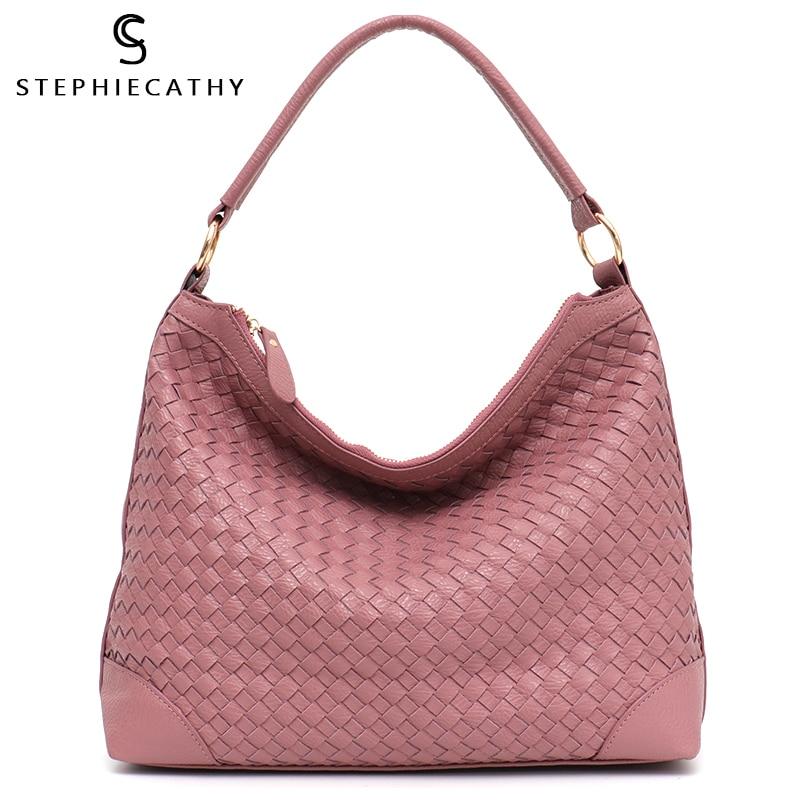SC Fashion Luxury Faux Leather Handmade Woven Hobo Tote Bag High Quality Handbags Grace Color Women Shoulder Messenger Bag