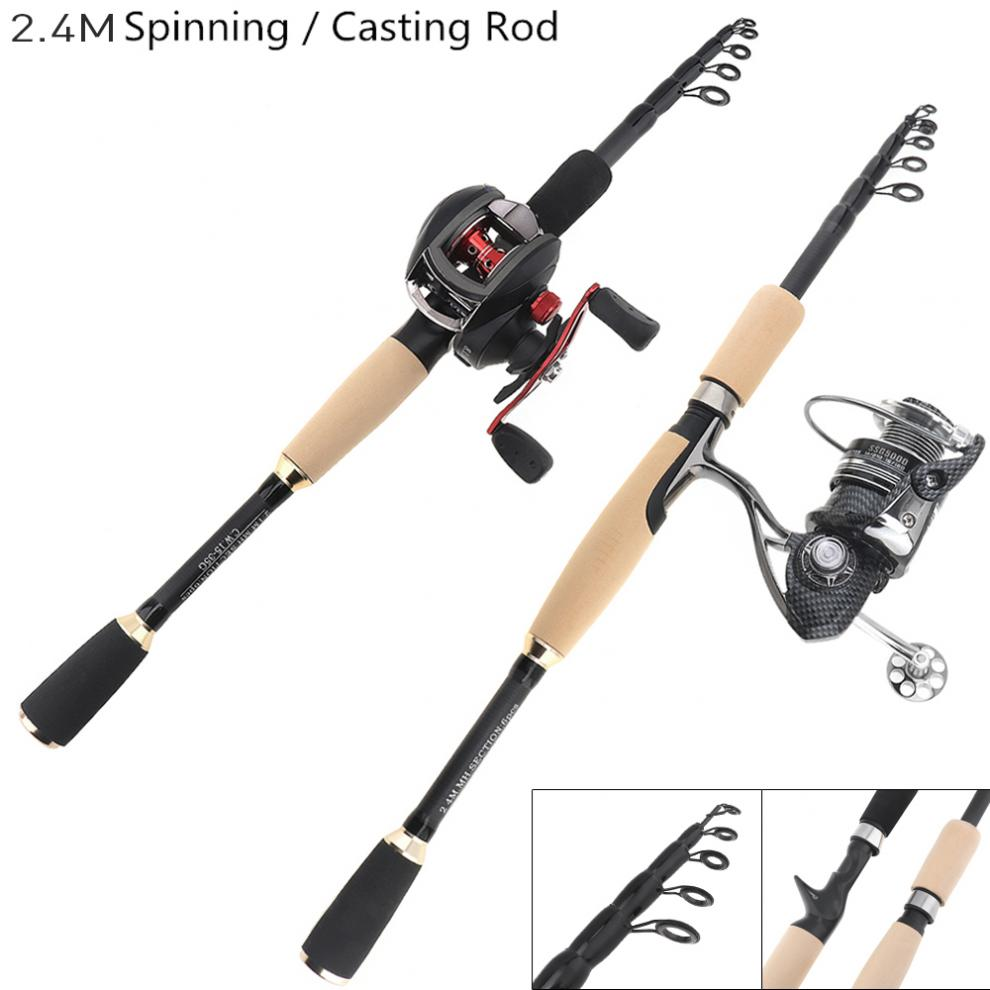 7 Section Carbon Fiber Lure Fishing Rod Travel Ultra Light Spinning//Casting Pole