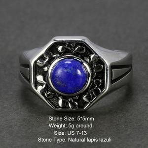 Image 2 - De Originelen 925 Sterling Silver Vampire Ringen Met Natuurlijke Lapis Lazuli Steen Damon Stefan Heren Punk Sieraden
