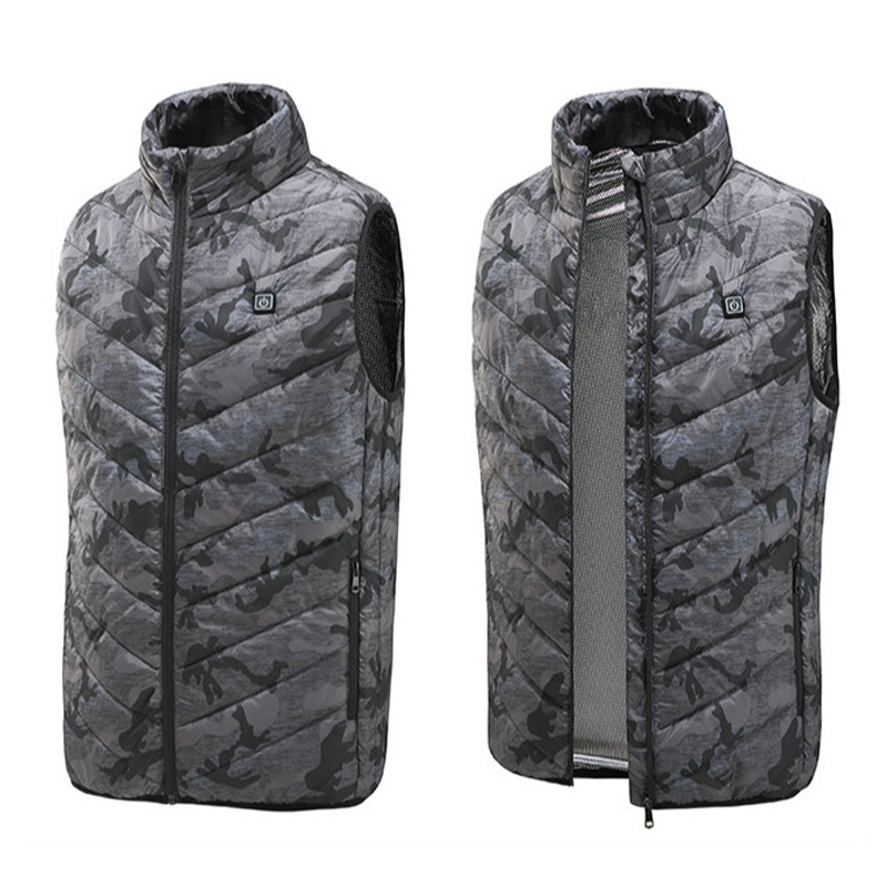 Men Autumn Winter Flexible Electric Thermal Cloth Waistcoat Fish Hiking Euro Size S-4XL Outdoor USB Infrared Heating Vest Jacket