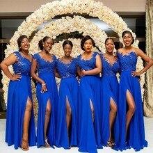Vestidos dama de honor Элегантные платья подружки невесты синие длинные платья подружки невесты Casamento аппликации шифоновое свадебное платье для гостей