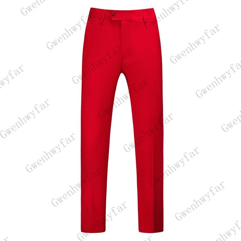 Gwenhwayfar, мужские синие клетчатые брюки, деловой костюм, брюки, деловые повседневные облегающие брюки, Классический Клетчатый костюм, брюки для свадьбы - Цвет: red