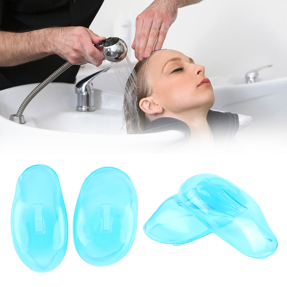 2 Pcs Salon Hair Dye Clear Blue Silicone Ear Cover Shield Barber Shop Anti Staining Earmuffs Protect Ears From Dying