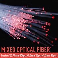 Mixed plastic fiber optic PMMA cable 4 meters (0.75mm * 250pcs + 1.0mm * 70pcs + 1.5mm * 15pcs) for all types of led light drive