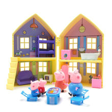 Peppa Pig Family Toys Doll Double Faced House Villa Full Roles Action Figure Pvc Model Educational For Kids Children Gifts