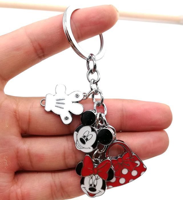 1 pcs cartoon mickey minnie hand bag Key Chain Cartoon Keychain DIY Key Ring K33 image
