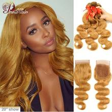 #27 Colored Body Wave 3 Bundles With Closure Blonde Brown Human Hair Weave Bundles With Lace Closure Peruvian Remy Hair Pinshair(China)