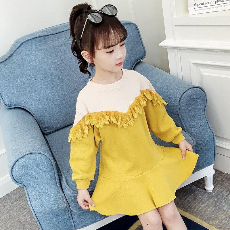 Платья для девочек на весну и осень, новинка 2020, детская одежда, модное платье с длинным рукавом и шитьем для детей 3-12 лет, платье принцессы д...