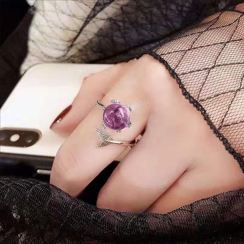 Milangirl Blau Kristall Meerjungfrau Blase Offene Ringe Für Frauen Hochzeit Geburtstag Kreative Mode Schmuck