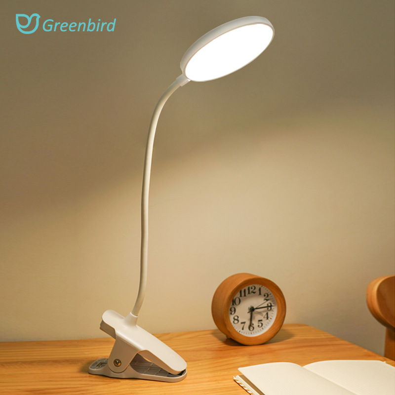 Table Lamp With Clip Touch Desk Lamp 1200mAh LED Desk Rechargeable Reading Lamp 6000K USB Table Light Flexo Lamps Table, White