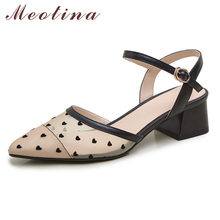 Meotina Shoes Women Genuine Leather Mid Heel Cutouts Sandals Pointed Toe Thick Heels Heart-Shaped Ladies Sandals Summer Black 40 meotina sandals women cross strap high heel shoes pointed toe stiletto heels dress ladies sandals summer black large size 43
