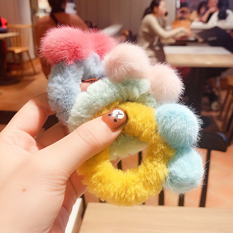 Winter Children Cute Colors Fuax Fur Hairball Elastic Hair Bands Girls Sweet Soft Scrunchies Rubber Bands Kids Hair Accessories