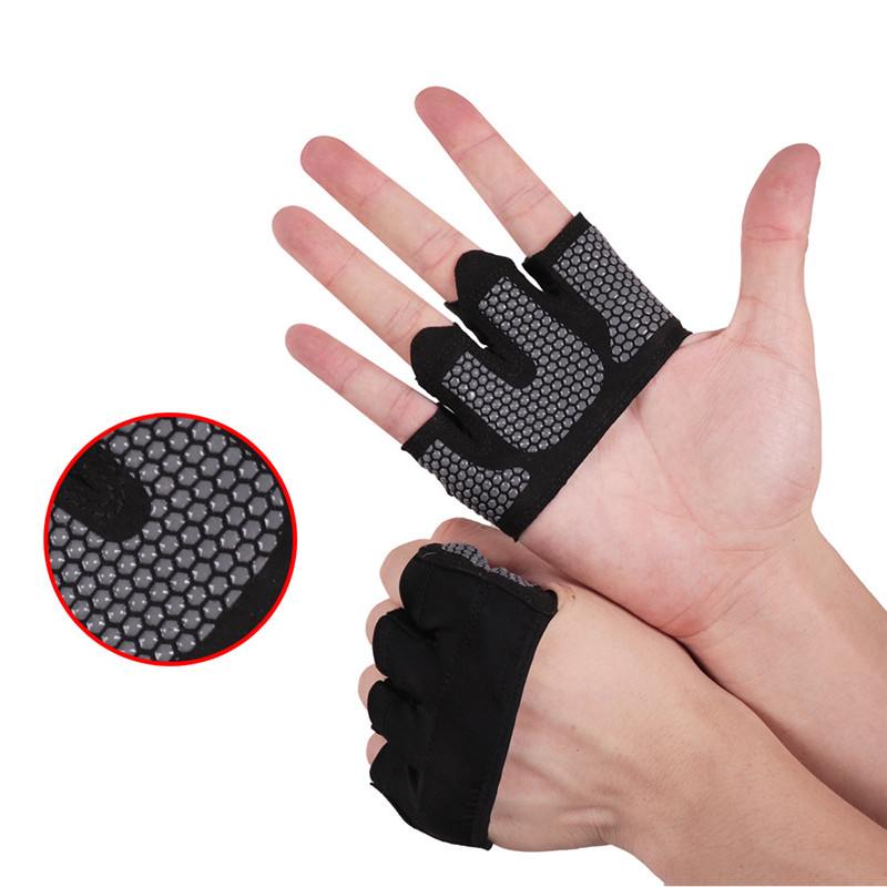 1 Pair Weight Lifting Gym Training Gloves Women Fitness Sports Body Building Gymnastics Grips Gym Hand Palm Protector Gloves Men