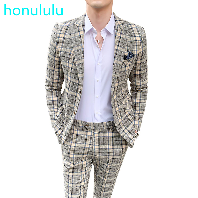 Large British Light Color Plaid Suit Men's Slim Trend Wedding Dress Studio Dress Evening Small Suit Two Piece Set
