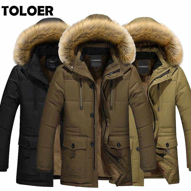 2019 Long Parkas Men Winter Warm Thickening Mens Long Jacket In Wool Cotton-padded Jacket Male Fashion Hooded Parka Clothes Coat