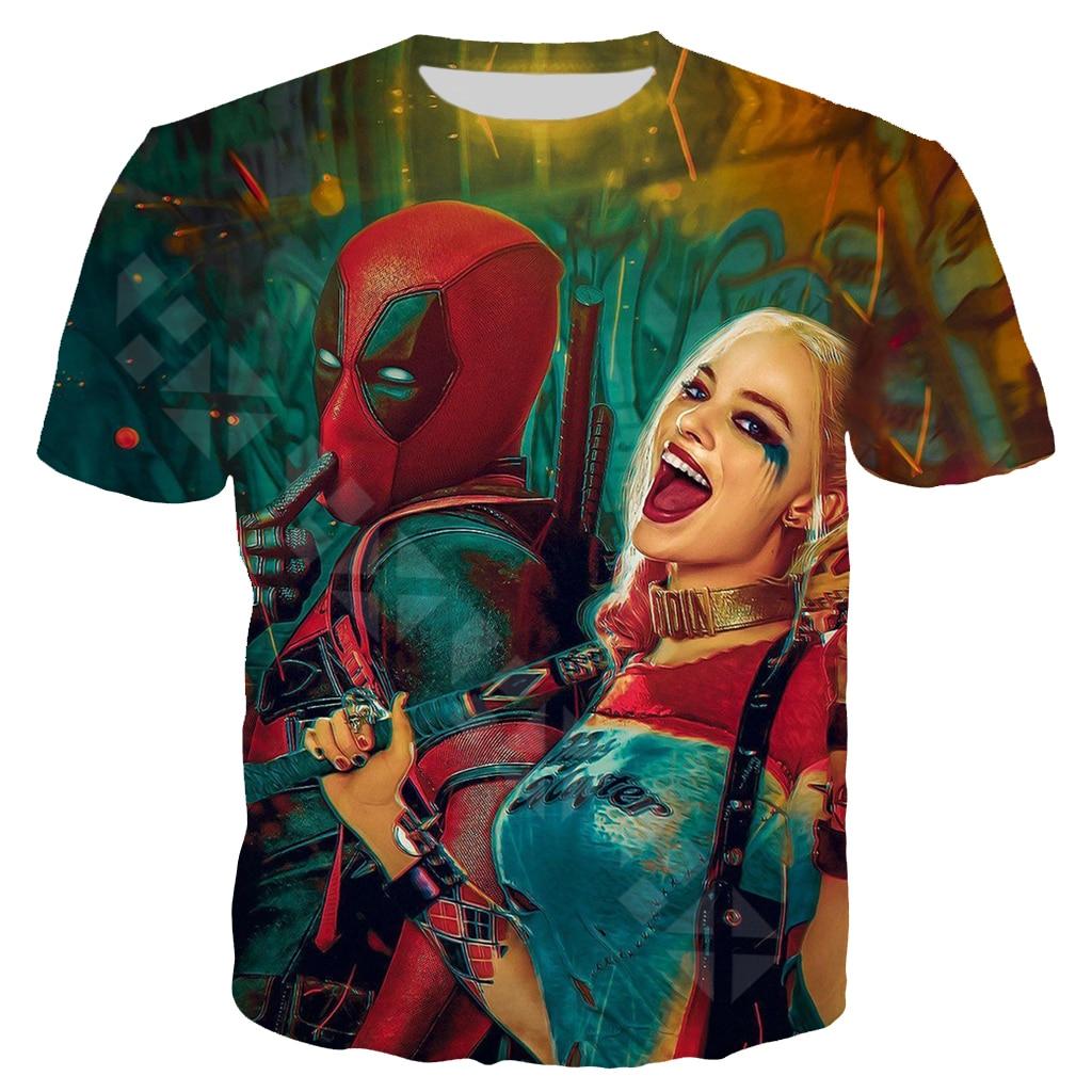 2020 New Funny Deadpool 2 T Shirt Men Women 3D Print Harley Quinn Clown Short Sleeve Fashion Anime Streetwear Couple Tops
