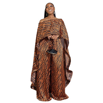 2 Piece Set Women Africa Clothes African Dashiki New Fashion Two Piece Suit Long Tops + Wide Pants Party Plus Size For Lady - Brown, S