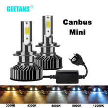 GEETANS H7 H4 LED reflektor samochodowy H1 H3 H8 H11 LED 9005 HB4 9006 HB5 HB3 HB2 9003 9004 9007 światła samochodowe żarówka 6500K Canbus