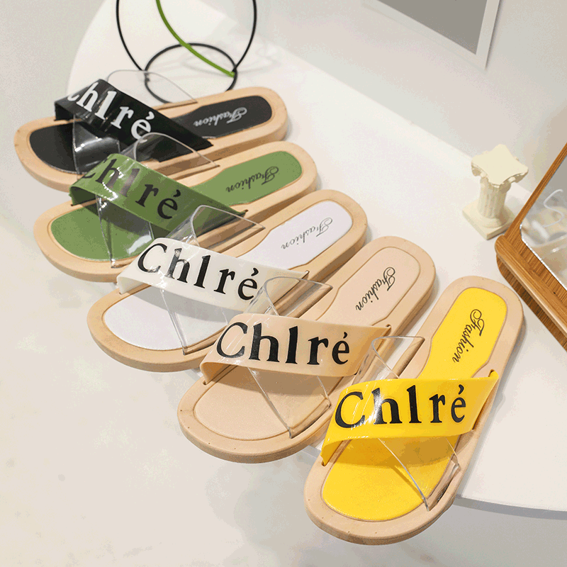 CINESSD PU Casual Shoes Women Slippers New Fashion Summer Sandals Women 2020 Letter Spelling House Slippers Woman Sandale Femme