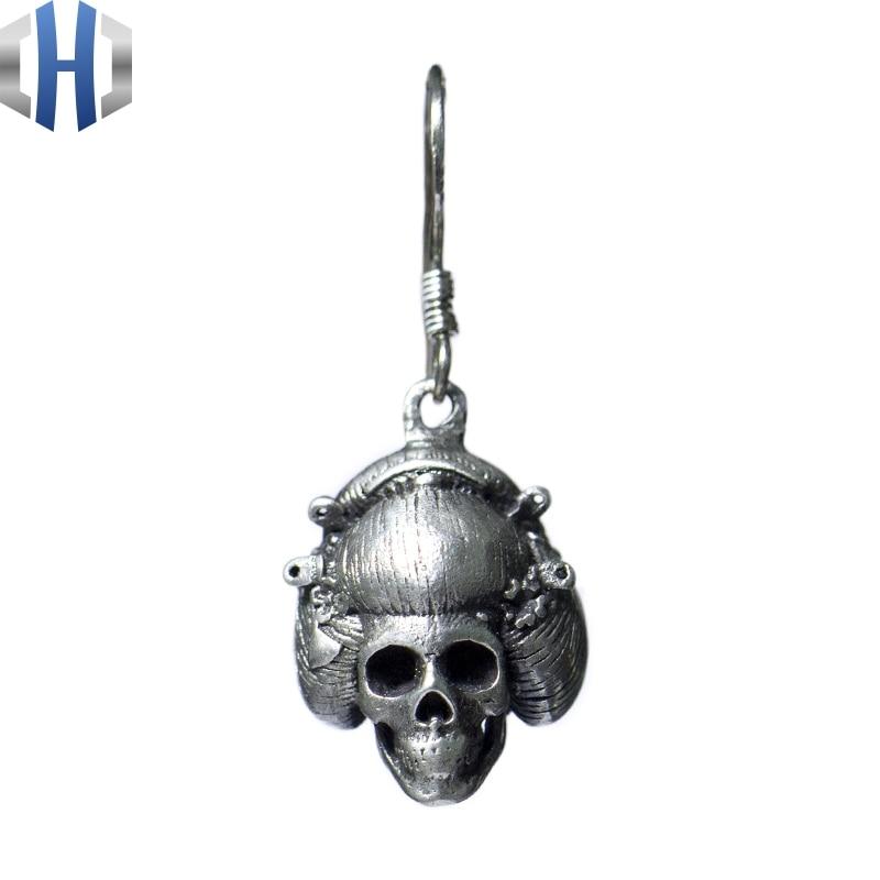 Original Design fait à la main en argent crâne boucles d'oreilles personnalité oreille crochet 925 en argent Sterling boucles d'oreilles femme rétro - 5
