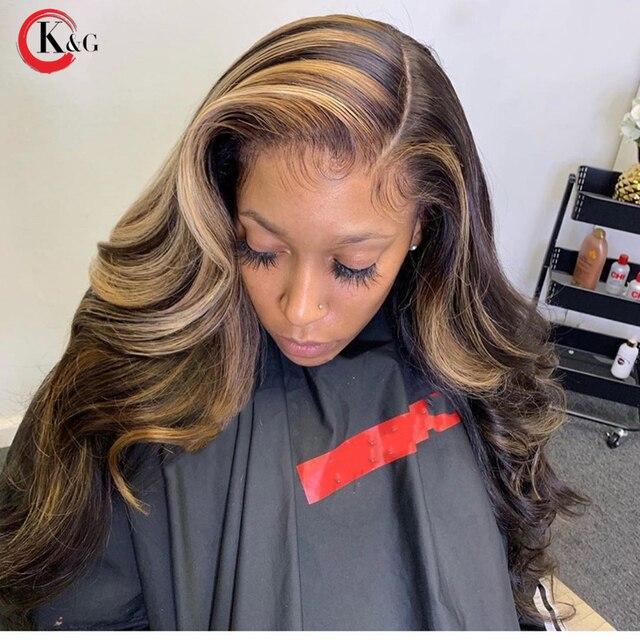 KungGang Highlight 13*4 13*6 koronki przodu włosów ludzkich brazylijski bliski stosunek głębokie częściowo koronka faliste peruki 130% 150% gęstość