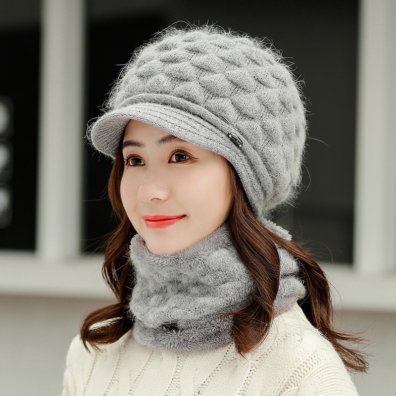 Women Hat Winter Wool Hat And Scarf Set Two-Piece Women Wool Thicken Warm Set Female Ring Scarves Hats For Girls Unisex Beanie