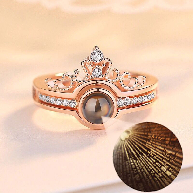 Open Ring Wedding-Jewelry Memory Crown Projection Rose-Gold Adjustable 2-Rings/Set 100-Language title=