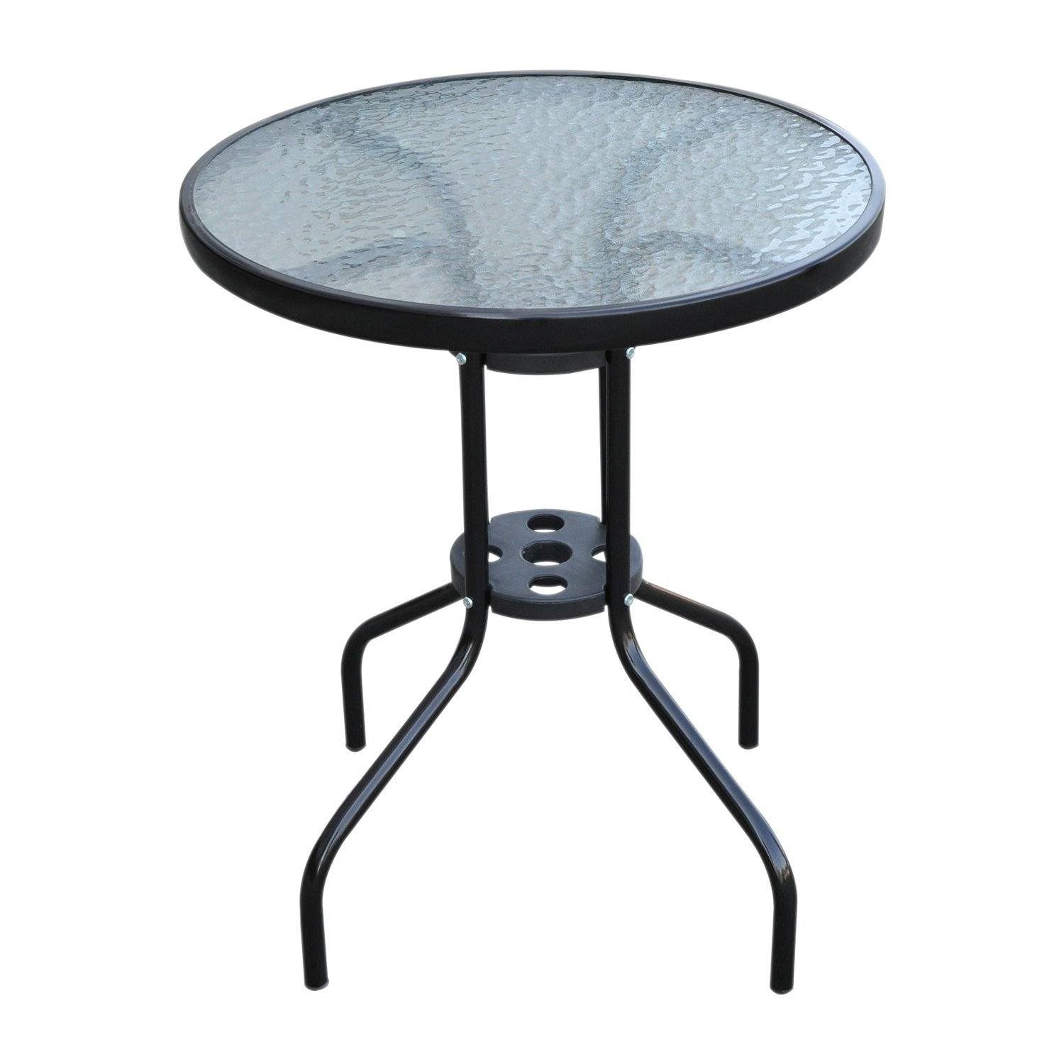 Outsunny Table Round Coffee Table With Tempered Glass Garden Φ60x70 Cm Black