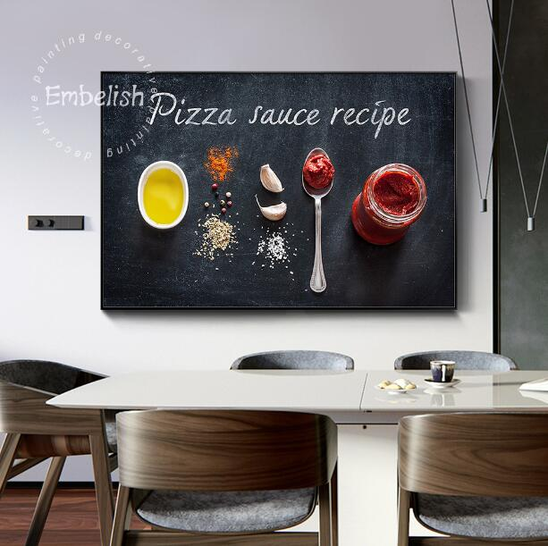 Embelish Pizza Topping Sauce Ingredients Recipe Home Kitchen Decor Wall Art Poster HD Canvas Painting Scandinavian Food Picture image