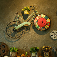 Retro Bike Wall Clock Mural Hanging Wall Clock Living Room Decor Pendant Vintage Watch Ornaments Personality Home Decoration