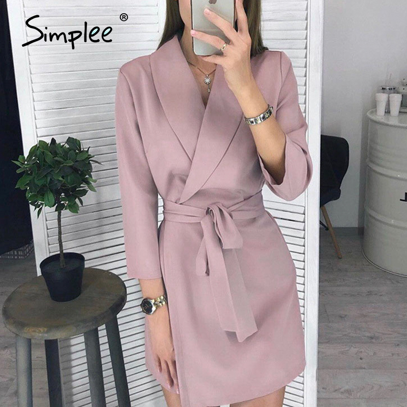 Simplee Elegant V-neck Office Dress Plus Size Solid Sash High Waist Long Sleeve Blazer Dress Casual Spring Chic Bodycon Dress