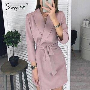 Image 1 - Simplee vestido elegante de oficina, con escote en V de talla grande, faja sólida, tiro alto, manga larga, blazer, vestido informal elegante para primavera