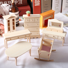 Hohe Qualität Simulation Miniatur Holz Tisch Dressing Tisch Schrank Schrank Wiege Modell Möbel Wohnzimmer Kid Spielzeug Puppen