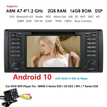 Android 10 2G RAM 16G ROM GPS Navi Car DVD Multimedia for BMW X5 E53 E39 M5 Wifi 4G Radio Can bus DVR Monitor