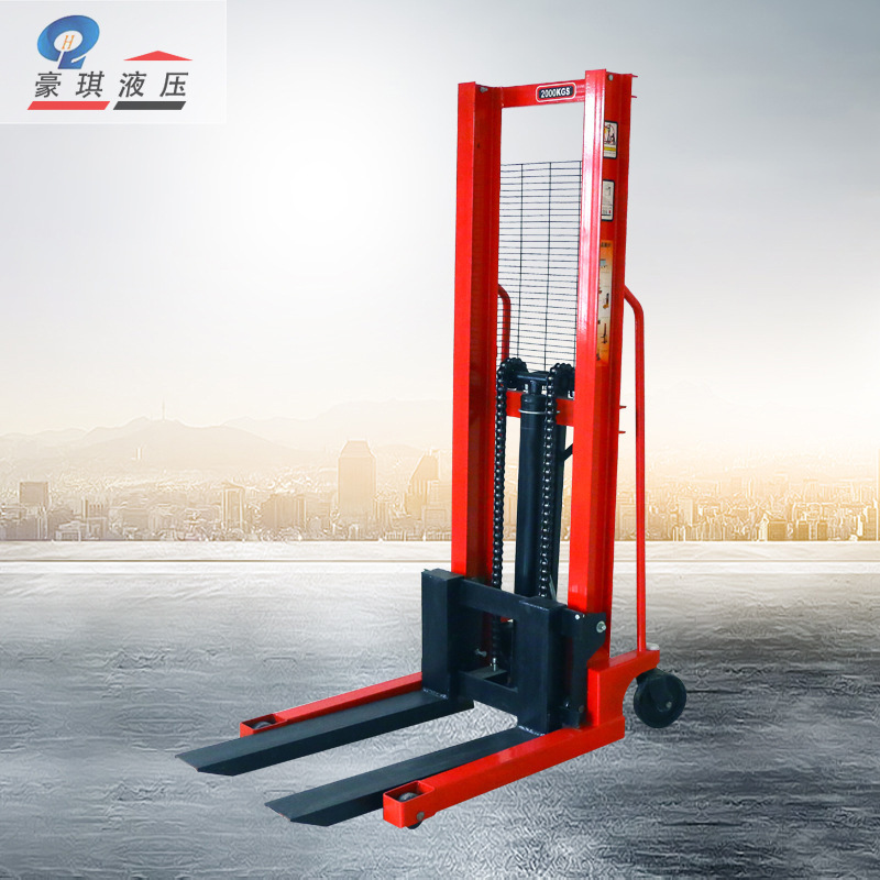 Manual Hydraulic Stacker Lift Car Height Adjustable Forklift Manual Pallet Stacking Truck 1 Tons 2 Tons 3 Tons