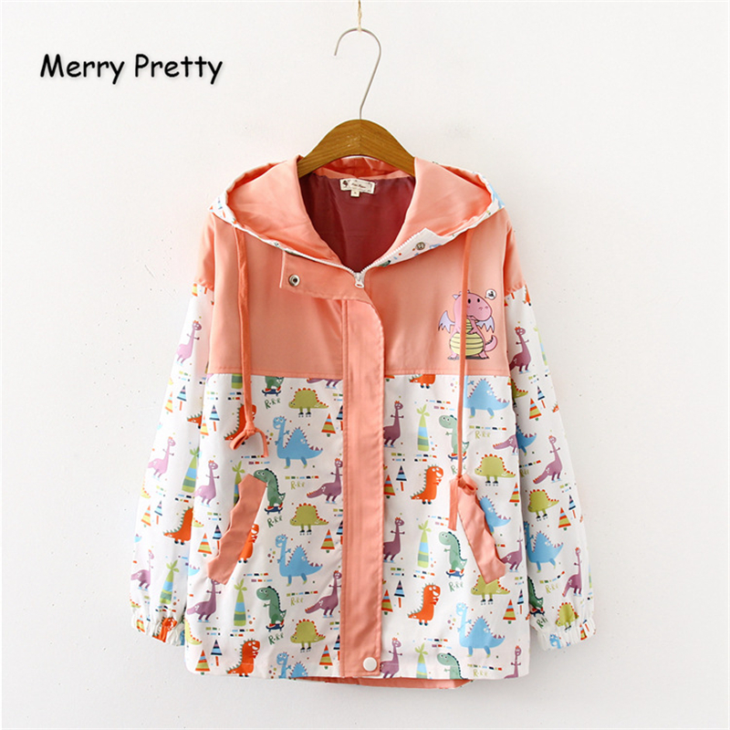 Merry Pretty Women Cartoon Dinosaur Funny   Jackets   2019 Winter Long Sleeve Hooded Patchwork Pockets   Basic     Jackets   Outerwear Coats