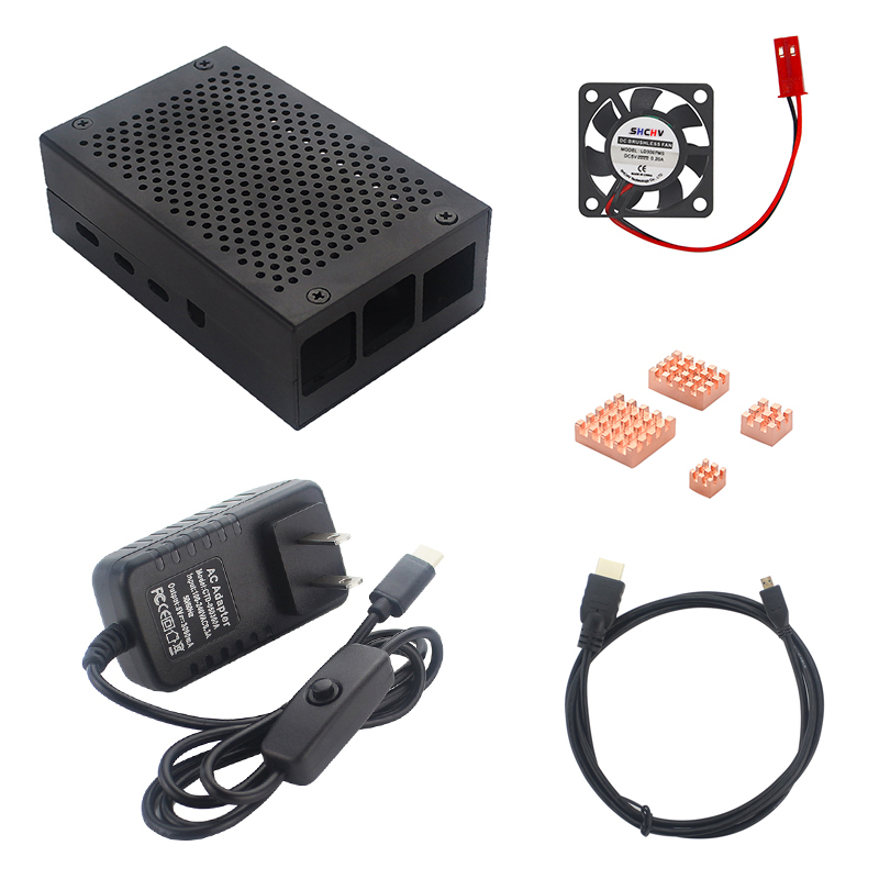 Raspberry Pi 4 Aluminum Metal Case Box + Power Supply + Micro HDMI Cable + Heat Sink + Cooling Fan For Raspberry 4 Model B