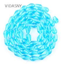 Faceted Waterdrop Lake Blue Austrian Crystal Beads For Jewelry Making 11*8mm Teardrop Glass Diy Bracelet Accessories