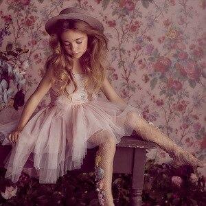 Image 3 - فستان بناتي مطرز بالدانتيل ومكشكش للكريسماس مصنوع يدويًا للأطفال فساتين منتفخة بالترتر لحفلات الأميرات ملابس للفتيات CA968
