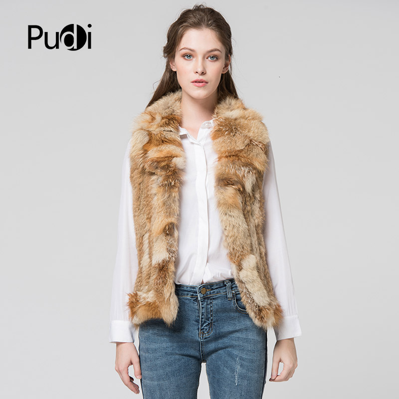 VR029 The new winter women's vest Genuine rabbit fur vest  women knitted  fox fur collar fur vest women's