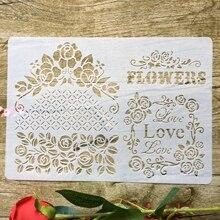 Люблю цветы А4 29*21см DIY трафареты стены скрап-картина раскраска выбивая альбом декоративные шаблон бумаги карты