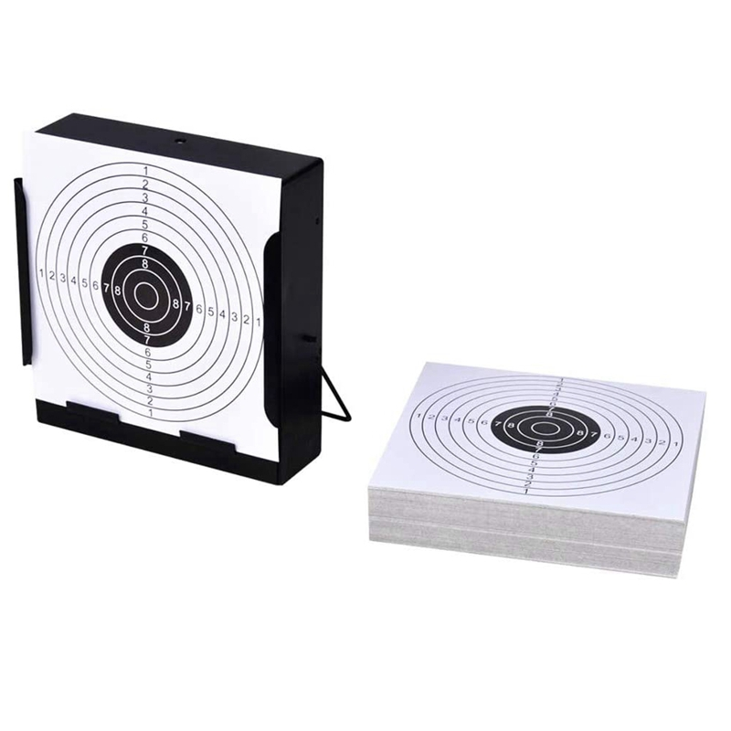 14cm 5.5inch Square Target Holder Pellet Trap + 100 Paper Targets Tactical Shooting Traning Target For Airsoft Hunting
