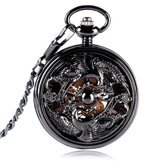 Retro Chinese Style Pocket Watch Clock Cranes Design Hand-winding Mechanical Pendant Watches Neckalce Chain Accessory Relogio Mo