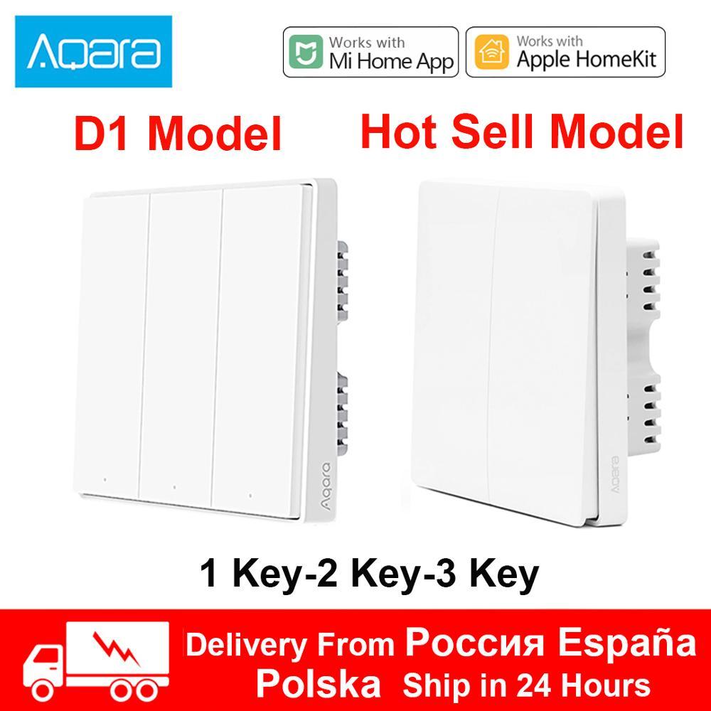 Xiaomi Aqara Schalter D1 ZigBee Smart Licht Fernbedienung Wireless Key Wand Schalter 3 Schlüssel Null Linie Feuer Draht MiHome homekit APP